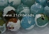 CAG9004 15.5 inches 14mm faceted round fire crackle agate beads