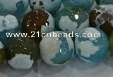 CAG9005 15.5 inches 16mm faceted round fire crackle agate beads