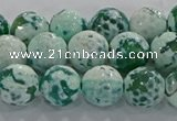 CAG9009 15.5 inches 10mm faceted round fire crackle agate beads