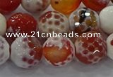 CAG9017 15.5 inches 12mm faceted round fire crackle agate beads