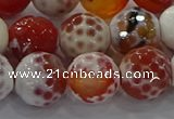 CAG9018 15.5 inches 14mm faceted round fire crackle agate beads