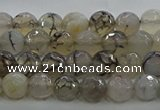 CAG9035 15.5 inches 6mm faceted round dragon veins agate beads