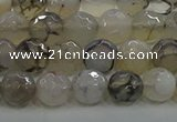 CAG9036 15.5 inches 8mm faceted round dragon veins agate beads