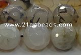CAG9039 15.5 inches 14mm faceted round dragon veins agate beads