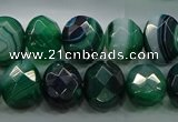 CAG9046 15.5 inches 12*16mm faceted oval line agate beads