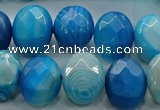CAG9051 15.5 inches 13*18mm faceted oval line agate beads
