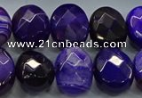CAG9055 15.5 inches 15*20mm faceted oval line agate beads