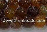 CAG9195 15.5 inches 10mm round line agate gemstone beads