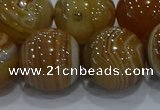 CAG9199 15.5 inches 18mm round line agate gemstone beads