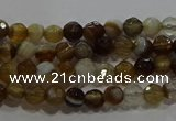 CAG9211 15.5 inches 4mm faceted round line agate gemstone beads