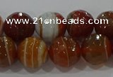 CAG9232 15.5 inches 10mm faceted round line agate beads wholesale