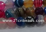 CAG9257 15.5 inches 8mm faceted round line agate beads wholesale
