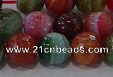 CAG9266 15.5 inches 12mm faceted round line agate beads wholesale