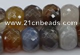 CAG9300 15.5 inches 15*20mm faceted rondelle grey agate beads