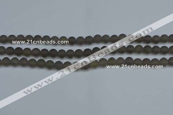 CAG9312 15.5 inches 8mm round matte grey agate beads wholesale