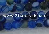 CAG9331 15.5 inches 6mm round matte line agate beads wholesale