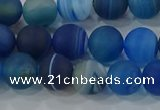 CAG9332 15.5 inches 8mm round matte line agate beads wholesale