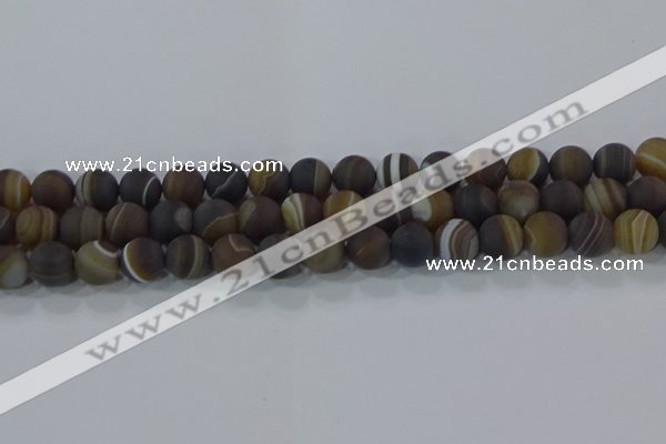 CAG9339 15.5 inches 10mm round matte line agate beads wholesale