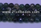 CAG9360 15.5 inches 4mm faceted round moss agate beads wholesale