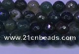 CAG9361 15.5 inches 6mm faceted round moss agate beads wholesale