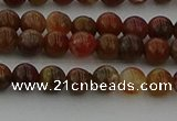 CAG9390 15.5 inches 4mm round red moss agate beads wholesale