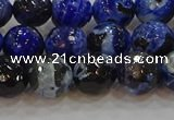 CAG9462 15.5 inches 8mm faceted round fire crackle agate beads