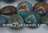 CAG9516 15.5 inches 16mm flat round blue crazy lace agate beads