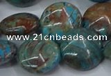 CAG9517 15.5 inches 18mm flat round blue crazy lace agate beads