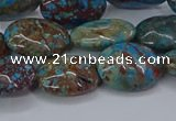 CAG9522 15.5 inches 13*18mm oval blue crazy lace agate beads