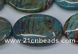 CAG9526 15.5 inches 25*35mm oval blue crazy lace agate beads