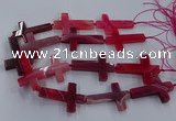 CAG9629 15.5 inches 32*48mm - 35*50mm cross dragon veins agate beads