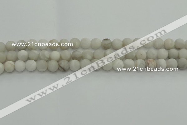 CAG9702 15.5 inches 8mm round matte grey agate beads wholesale