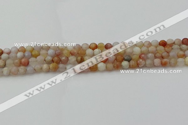 CAG9718 15.5 inches 4mm faceted round colorful agate beads