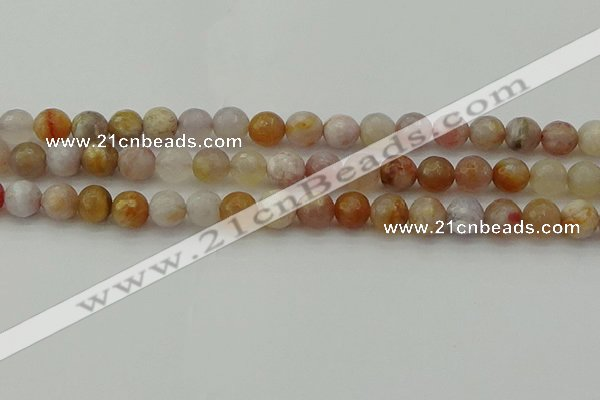 CAG9720 15.5 inches 8mm faceted round colorful agate beads wholesale