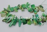 CAG9725 Top drilled 8*20mm - 12*40mm freeform grass agate beads