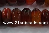 CAG9766 15.5 inches 8*16mm faceted rondelle agate gemstone beads