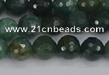 CAG9825 15.5 inches 8mm faceted round moss agate beads