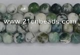 CAG9837 15.5 inches 4mm faceted round tree agate beads