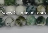 CAG9839 15.5 inches 8mm faceted round tree agate beads