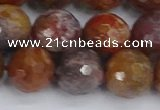 CAG9849 15.5 inches 12mm faceted round red moss agate beads