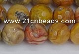 CAG9872 15.5 inches 12mm faceted round yellow crazy lace agate beads