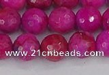 CAG9878 15.5 inches 10mm faceted round fuchsia crazy lace agate beads