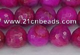 CAG9879 15.5 inches 12mm faceted round fuchsia crazy lace agate beads