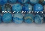 CAG9884 15.5 inches 8mm faceted round blue crazy lace agate beads
