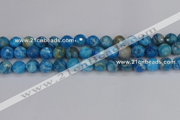 CAG9886 15.5 inches 12mm faceted round blue crazy lace agate beads