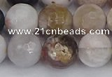 CAG9900 15.5 inches 12mm faceted round parrel dendrite agate beads