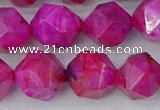 CAG9954 15.5 inches 12mm faceted nuggets fuchsia crazy lace agate beads