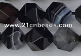 CAG9984 15.5 inches 12mm faceted nuggets black line agate beads