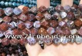 CAG9989 15.5 inches 12mm faceted nuggets red lightning agate beads