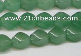 CAJ664 15.5 inches 8*10mm twisted rice green aventurine beads